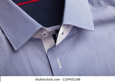 Classic men's shirt collar detail. Colose up view.