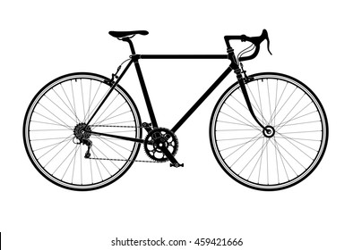 Classic mens town, road bike silhouette, detailed illustration