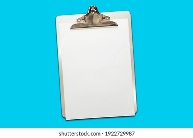 Classic metal clipboard with blank white paper isolated