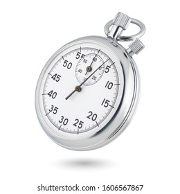 Classic metallic chrome mechanical analog stopwatch isolated on white background.