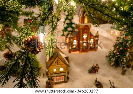 classic miniature christmas village under natural tree - Miniature Christmas Town Decorations