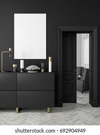 Classic, modern, scandinavian style black color interior mock up with vases, dresser, console, door, lamp, frame, wooden floor. 3d render illustration.