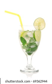 Classic Mojito cocktail drink with alcohol, rum, lime, spring of mint, sprite soda, syrup and yellow straw in cocktail glass isolated on a white background
