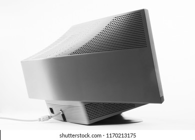 Classic monitor of personal Computer . old monitor of white plastic back view.  object  isolated on white background.