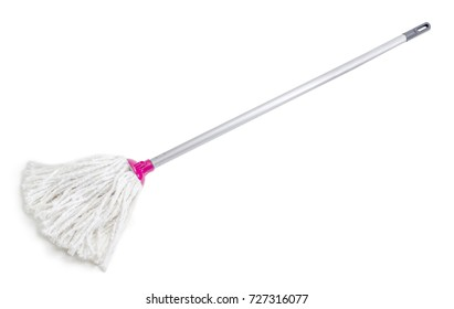Classic mop with cotton head and metal tubular handle on a white background