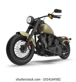 Classic Motorbike isolated on white. 3D illustration