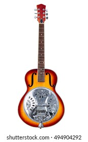 classic musical instrument, six-string resonator guitar isolated on white background