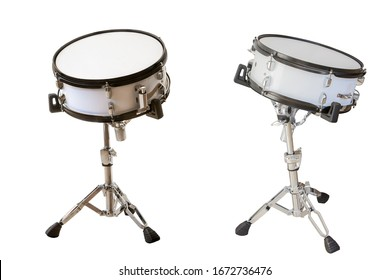 classic musical instrument snare drum isolated on white background