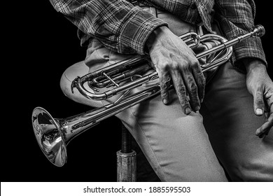 Classic musical trumpet of black and white.