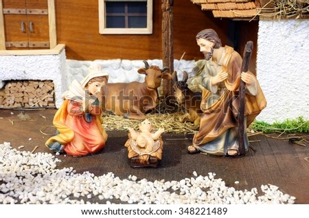 classic nativity scene baby jesus manger stock photo edit now