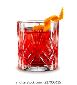 Classic Negroni cocktail isolated on white background