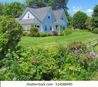 Classic  New England House,with clapboard siding, on Mount Desert Island, Acadia National park, Maine, New England