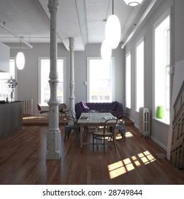 Classic New-York loft (3D render)