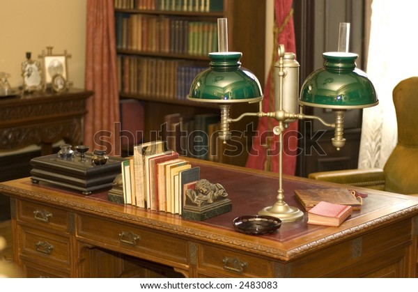Classic Oil Lamp On Antique Office Stock Photo (Edit Now) 2483083