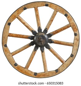 Classic old antique wooden wagon wheel rim spoke with black metal brackets and rivets. Traditional cannon wheel isolated on white. Cannon wheel isolated on white. Wheel rim spokes. Wooden vehicle