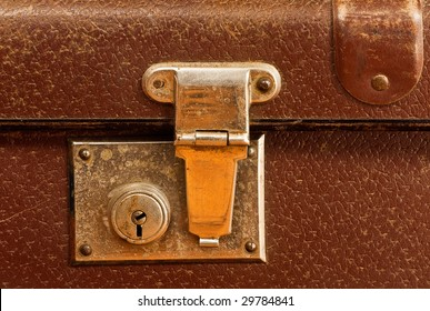 classic old brown leather suitcase for travel