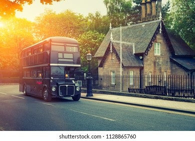 Classic Old Double Decker Bus in motion, Edinburgh, Scotland