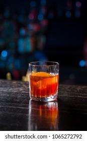 classic old fashioned negroni cocktail on the bar