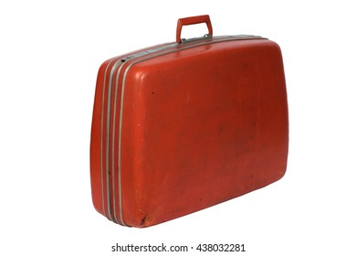 classic old luggage red case for pack bag travel isolated on white background
