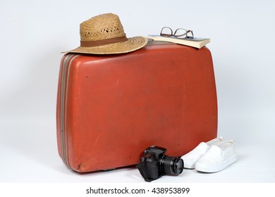 classic old luggage red case for pack bag travel