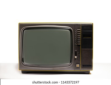 Classic old television on white table in white background,  Technology retro tv style