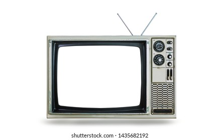 Classic old TV isolated on a white background. Beautiful vintage television with antenna