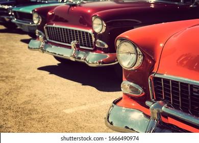 Classic old vintage cars street display