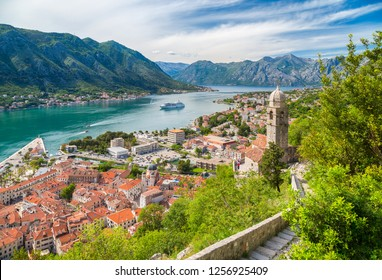 Classic panorama view of the historic Church of Our Lady of Remedy overlooking the old town of Kotor and world famous Bay of Kotor, Montenegro, southern Europe.