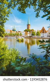 Classic panorama view of the historic city of Luebeck with famous Trave river in summer, Schleswig-Holstein, Germany