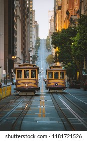 Classic panorama view of historic San Francisco Cable Cars on famous California Street at sunset with retro vintage Instagram style filter effect, central San Francisco, California, USA