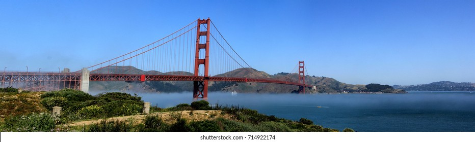 Classic panoramic view of famous Golden Gate Bridge in summer, San Francisco, California, USA.