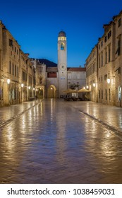 Classic panoramic view of famous Stradun, the main street of the old town of Dubrovnik, in beautiful morning twilight before sunrise at dawn in summer, Dalmatia, Croatia