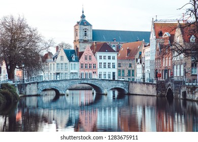 Classic panoramic view of the historic city center of Brugge, often referred to as The Venice of the North, province of West Flanders, Belgium
