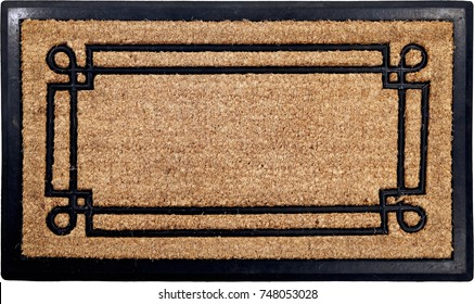 Classic peach color doormat with line art
