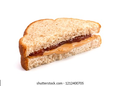 Classic Peanut Butter and Strawberry Jelly Sandwich on Wheat Bread