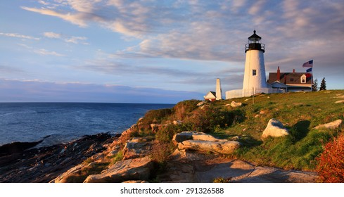 The Classic Pemaquid Point Lighthouse Overlooking The Atlantic Ocean On A Beautiful New England Morning, Bristol Maine, USA
