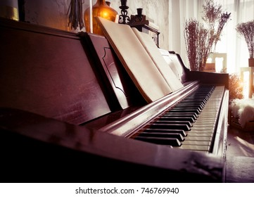 classic piano in beautiful living room,vintage style.