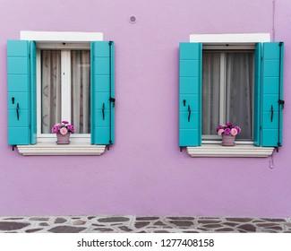Classic Picturesque Windows in Burano Venice Italy
