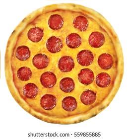 Classic Pizza Pepperoni overhead studio shot for pizza lovers