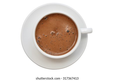 Classic porcelain white cup of espresso coffee isolated on white, top view