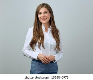 Klassisches Porträt junger Geschäftsfrau. Einzelne Studioporträts.