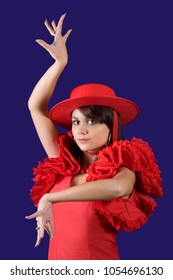 Classic pose of a young Spanish flamenco dancer
