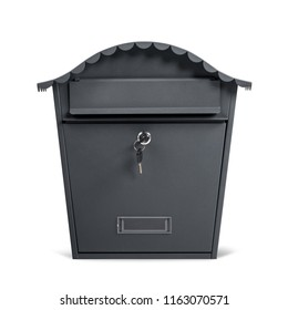 Classic postal mail box made of metal, painted dark grey, with curvy roof and keys in lock, closed, isolated on white background