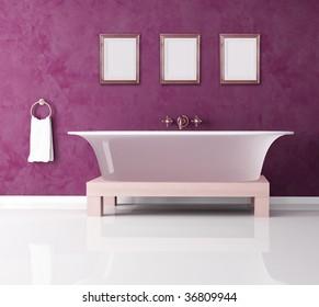 classic purple bathroom with fashion bathtub -rendering