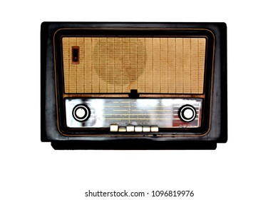 Classic radio receiver isolated on white background.