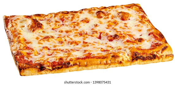 Classic rectangular bakery Margherita pizza topped with tomato and melted mozzarella cheese isolated on white