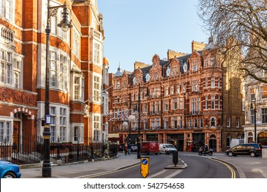 Classic red brick building in Mayfair, London