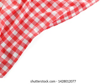 Classic red checkered blanket isolated on white, top view