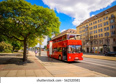 Classic red city sightseeing bus in Dresden, Saxony, Germany