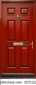Classic red door isolated